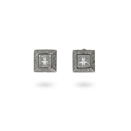 Mens Sterling Silver Square Cut CZ Earrings