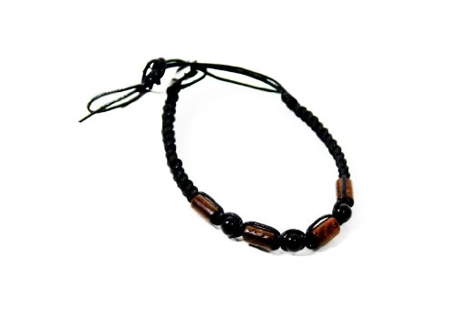 Fun Unisex Wooden Bead Natural Cord Friendship Bracelet In Black