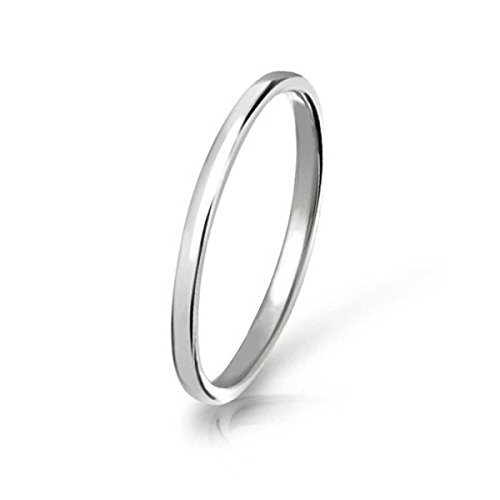 Three Keys Jewelry 2mm Women Tungsten Carbide Ring Silver Polished Dome Wedding Engagement Band Size 5.5