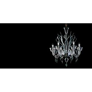 7055 Chandelier Size: 85 cm H x 70 cm Dia, Shade / Dropper Colour: Clear Glass / Green / Gold :: Best Price