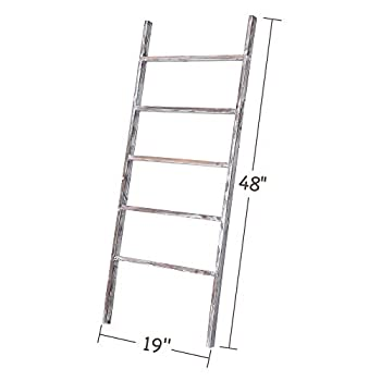 "Rose Home Fashion RHF 48"" Decorative Ladder,Ladder Shelf,Leaning Shelf,Decorative Ladder for Bathroom, Ladder Shelf Stand, Rustic Farmhouse Wood Ladder,Ladder Shelves,Decor,No Assembly Required"