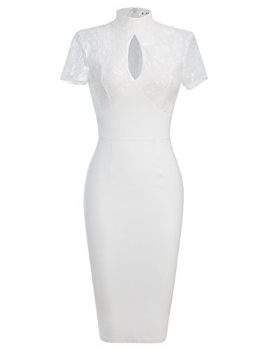 MUXXN Women's 1940's Vintage Floral Lace Keyhole Bodycon Hot Pencil Dress(S,White) (White Form Fitting Dress compare prices)