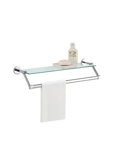Organize It All Glass Shelf with Towel Bar, Chrome