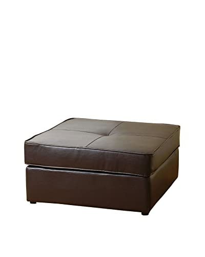Abbyson Living Santiago Square Bonded Leather Ottoman, Dark Brown