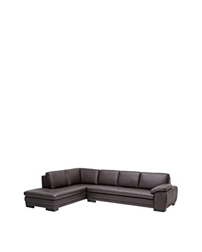 Baxton Studio Abriana 2-Piece Leather Sofa Sectional, Dark Brown