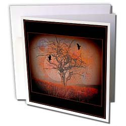 mimulux Dark Fantasy Art AT DUSK evening sunset sun crow tree silhouette landscape fantasy dusk nightfall twilight Greeting Cards 12 Greeting Cards with envelopes