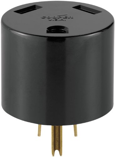 Cooper Wiring Devices 1264-BOX 30-Amp 2-Pole 3-Wire 125-Volt Heavy Duty Grade Travel Trailer Receptacle Adaptor Plug, Black