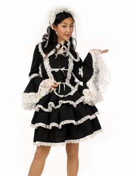 マリアドレス (チュールメイド) 黒/白 M