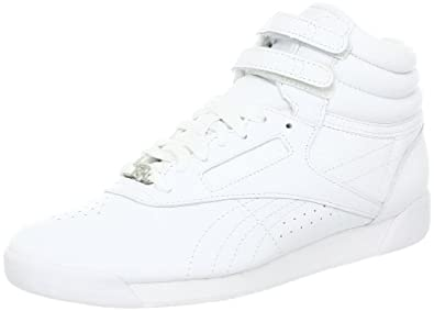 Reebok Women's Freestyle Hi Lace-up Fashion Sneaker,White/White/White,8 M US