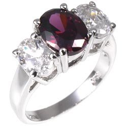Studio 925 Classic 3-stone Amythest and White Diamond CZ 3.5ct Anniversary Sterling Silver Ring, 9