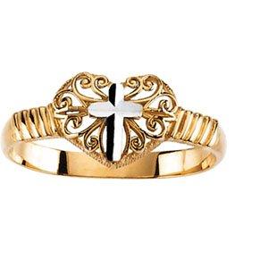 14K Yellow/White Gold RING Tt Cross Ring
