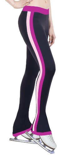 Ice Figure Skating Dress Practice Pants Side Stripe Fuchsia/Two Tone - Adult Medium