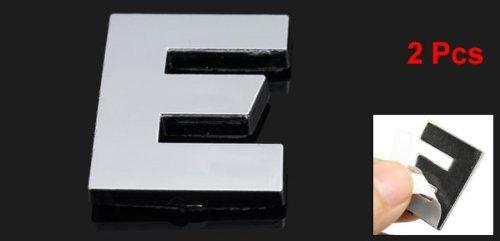 2 x Lettre E 3D emblème moto voiture badge Auto Decal Sticker ton argent