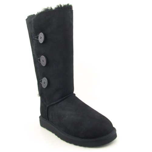 UGG Australia Women's Bailey Button Triplet Winter Boots,Black,6 US