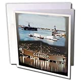 Sandy Mertens Hawaii Travel Designs - USS Abraham Lincoln, USS Arizona Memorial (Day and Night) Pearl Harbor - Greeting Cards-12 Greeting Cards with envelopes