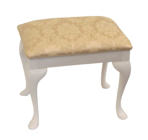 Cream Damask Top Dressing Table/Bedroom Stool with White Legs