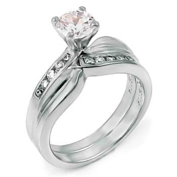 Modern Art Inspired Sterling Silver Wedding Ring Set, Crafted with Top Quality Diamond Color Round Cut Cubic Zirconia, Limited Time Sale Price Offer, Comes with a Free Gift Box and Special Pouch