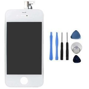 Fosmon Replacement Digitizer and Touch Screen LCD Assembly for White Apple iPhone 4 (Fits CDMA Verizon/Sprint iPhone 4 only) + 7 Piece Repair Tool Kit