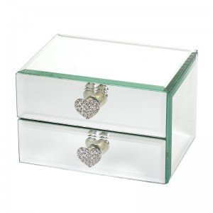 2 drawer mirrored jewellery box with diamante heart for Starting a jewelry business in canada