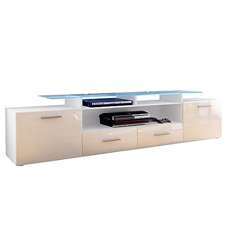 mobile porta tv credenza madia Valentino art. 1429 bianco crema lucido cm. 194