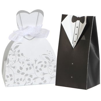 100 Bride & Groom Wedding Favor Boxes