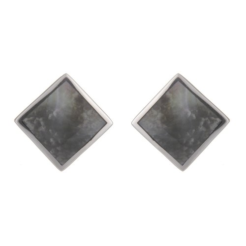 Silver Sq. Grey Mother-of-Pearl Stud Earrings