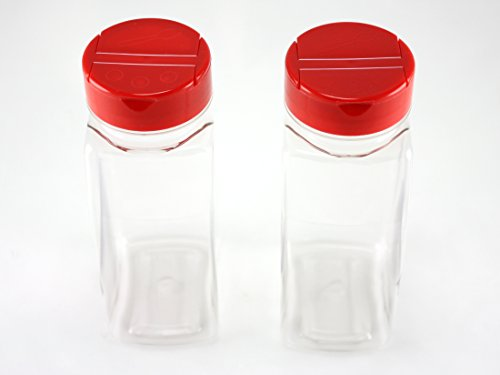 Skyway Supreme Large 16 OZ Clear Plastic Spice Bottles Jars Containers - Set of 2 - Flap Cap Pour and Sifter Shaker Durable Refillable Perfect For Storing and Dispensing Herbs and Spices - BPA Free (Shaker Container compare prices)