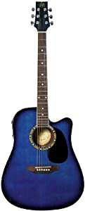 JBP JB Player JBEA25TBL Acoustic Electric Guitar, Transparent Blue