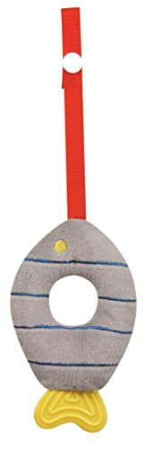 Stephan Baby Soft Plush Fishy Teether Toy with Stroller Clip, Grey and Blue