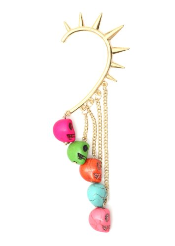 Voodoo Skulls Spiked Ear Cuff Gold Tone Metal Wrap Fringe Pink Red Blue Skeleton Chandelier Earring Fashion Jewelry