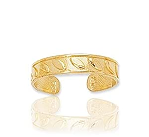 14k Yellow Gold Carved Stylish Toe Ring