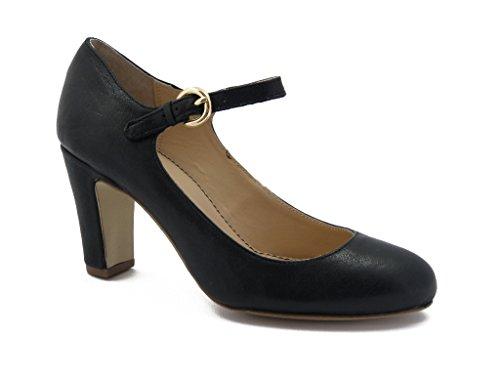 Decollete con laccio e fibbia Mercante di Fiori, scarpa in pelle con tacco 7cm. e suola in gomma , Estivo-QQ312