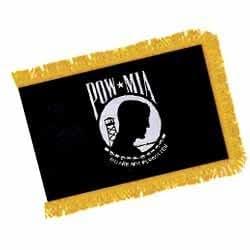 3' x 5' Nyl-Glo MIA-POW Double sided w/Gold Fringe Indoor/Parade Flag
