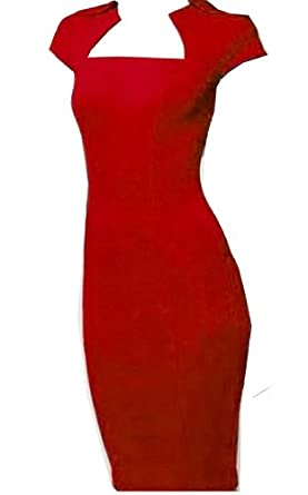 WIIPU fashion Square Neck party Rockabilly Bodycon Business Pencil Dress (WP-57) (S, red)