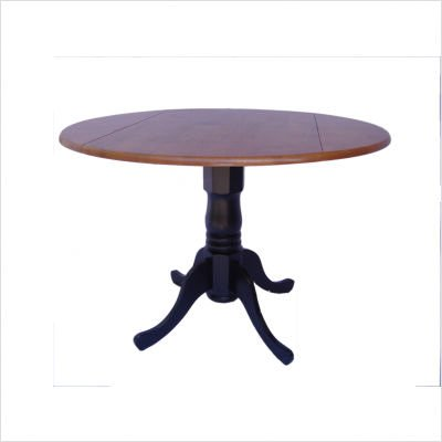 Buy Low Price International Concepts 42″ Round Dual Drop Leaf Pedestal Table in Black and Cherry (T57-42DP)