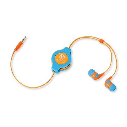 Retrak Retractable Stereo Earbuds, Neon Blue/Orange (Etaudnbuor)