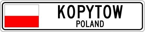 KOPYTOW, POLAND - Poland Flag Aluminum City Sign - 6 x 24 Inches