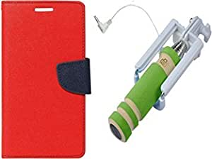 Murcury Flipcover Micromax canvas selfie 3 Q348 red with Pocket Selfie Stick