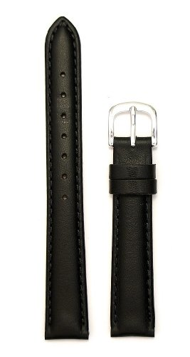 Ladies'Padded Genuine Leather Watchband, Color Black, Size 10mm, Watchband
