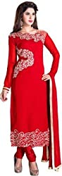 Stutti Fashion Red Georgette Party Wear Dress Material