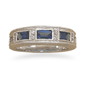 Sterling Silver Dark Blue and Clear CZ Ring / Size 8