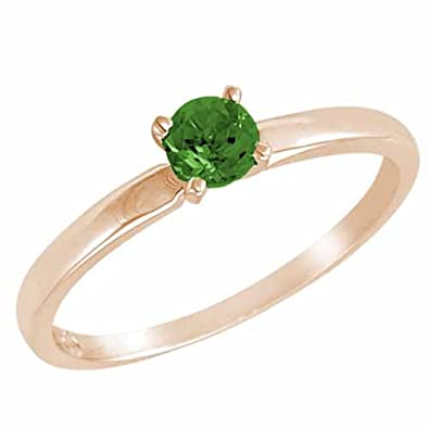 Ryan Jonathan Solitaire Emerald Ring in 14K White Gold (4.5 mm)