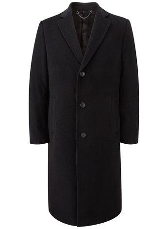 Austin Reed Black Long Wool/Cashmere Coat REGULAR MENS 38