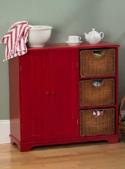 Cheap Southern Enterprises Distressed Red Wicker Drawer Sideboard (B0017LULSW)
