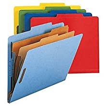 Smead 100% Recycled Classification Folder, Letter, 2/5 Right Of Center, 2 Dividers, Assorted Colors, 5 Per Pack (14049)
