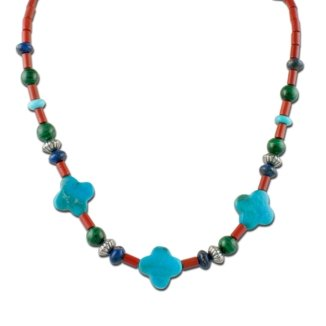 Sterling Silver Blue Turquoise Clover Beaded Station Necklace