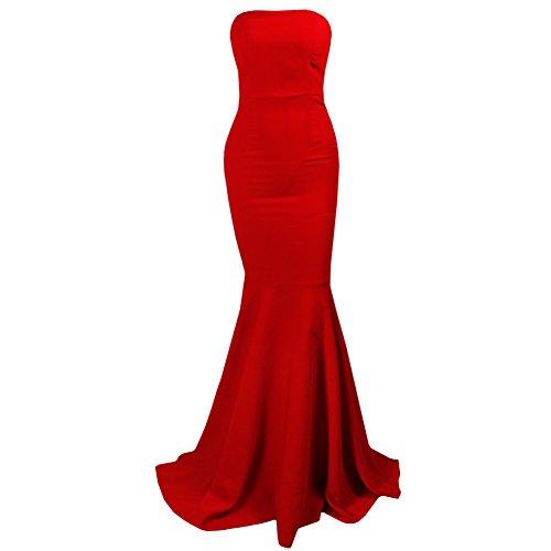 Women's Sleeveless Bra Mermaid Party Dress Medium Red