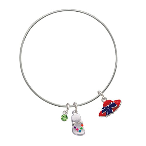 Red Hat With Purple Bow Lime Green Crystal And Flip Flop Charm Bangle Bracelet