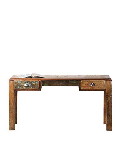 SIT-Mbel-2607-98-Schreibtisch-Fridge-140-x-60-x-76-cm-Echtes-Altholz-mit-Khlschrankgriffen-auf-Metallrollen-bunt-lackiert
