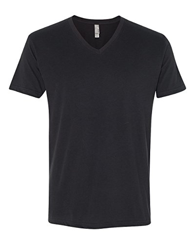 next-level-apparel-6440-mens-premium-fitted-sueded-v-neck-tee-black-large
